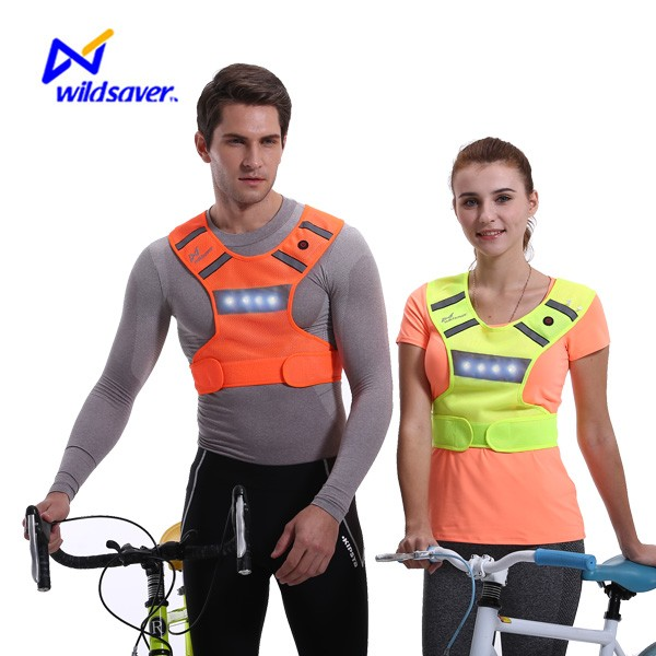 CE high vision reflective led cycling vest for night cycling running jogging