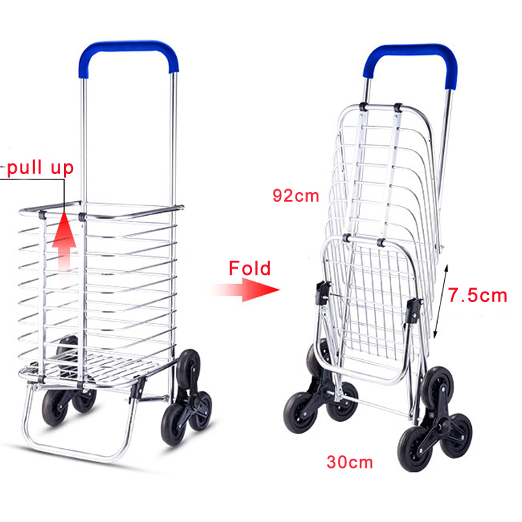 Wholesale Mini Climbing Stair 6 Wheels Aluminum Foldable Shopping Trolley Cart