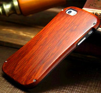 Phone Case Dirt-resistant Shockproof Aluminum Bumper Metal Frame+Real Wood Cover On For 5G/6G/7G