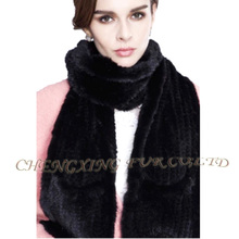 CX-S-176B Fashion Wholesale Pocket Gloves Black Knitted Mink Fur Scarf