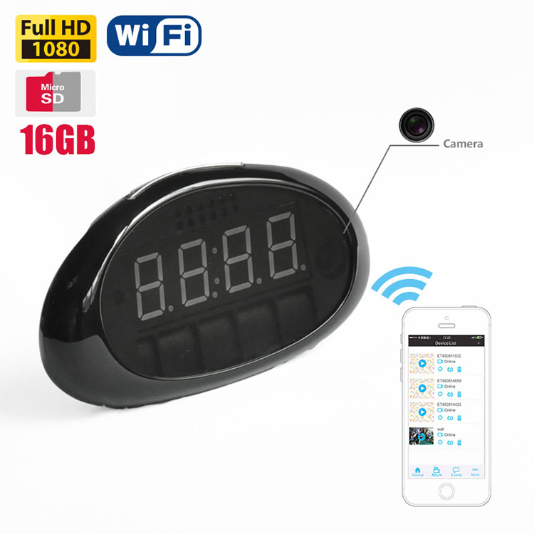 Mini 1080P alarm table clock hidden digital camera with mini clock shape