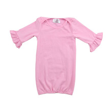 Cheap boutique pink color baby flutter long sleeve romper girl cotton summer ruffled baby romper