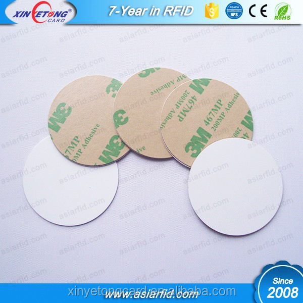 Classic MF 1K S50 Passive Hard PVC NFC Round Coin Tag, NFC Disc Tags with 3M Sticker, 13.56Mhz, ISO14443A