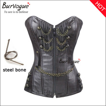 Women steel boned body shapers supply overbust slimming bustier top with chain and zipper fetish leather corset wholesale cheap