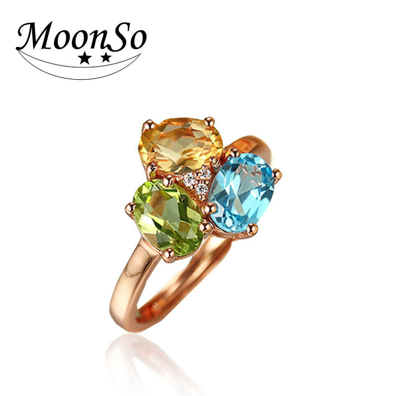 popular three color crystal stones 925 Sterling Silver ring Wedding Engagement adjustable Ring plated rose gold KR2127S