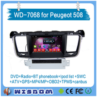 2016 Wisdom Peugeot 508 car dvd player GPS navigation with reversing cameraAndroid Quad core Bluetooth for Peugeot 508 with CE
