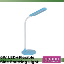 6W USB side emitting light led table lamp dimmable touch switch reading light flexible arm led desk lamp