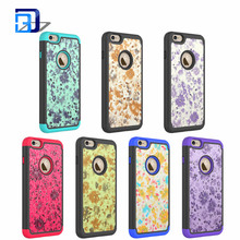 New arrival floral printing pattern Silicone + PC hybrid combo 2 in1 cell phone case for iphone 6 / 6s express alibaba