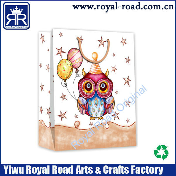 2015 new fancy night owl design printed shopping paper bag