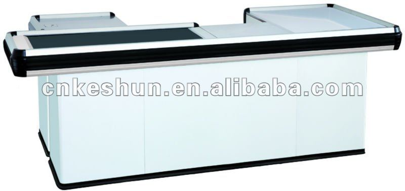 cash checkout counter with conveyor belt