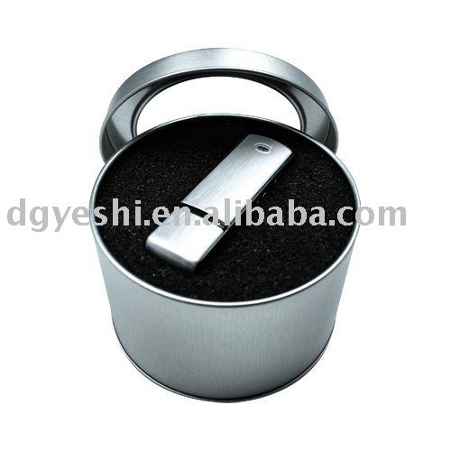 USB round tin box pvc window