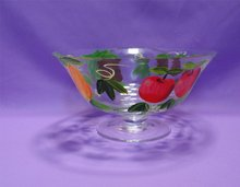 round colored Glass fruit platter
