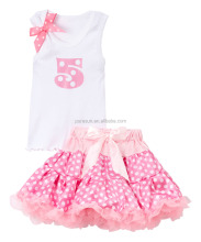 High quality birthday party bow tank top tutu dress OEM girls cotton boutique outfits