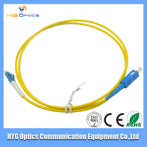1m,3m,5m,10m yellow LC/PC single mode Duplex fiber optical patch cord in stock for LAN,CATV,FTTX,FTTH