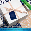 Gloss lamination white cardboard gift box with ribbon