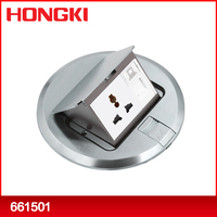 Brass Round Raised Electrical Floor Data Box with Universal socket or outlet