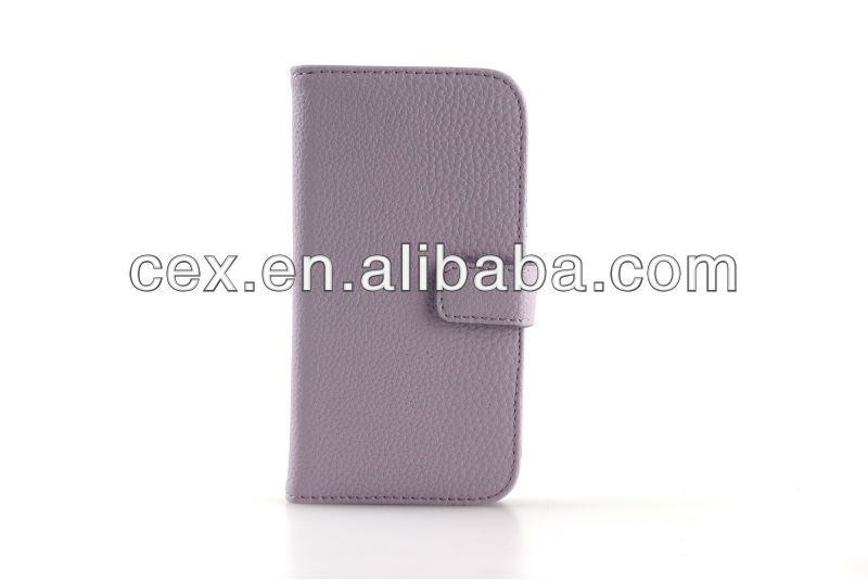 Light Purple Litchi Grain Wallet PU Leather Case Cover Stand for Samsung Galaxy S4 I9500