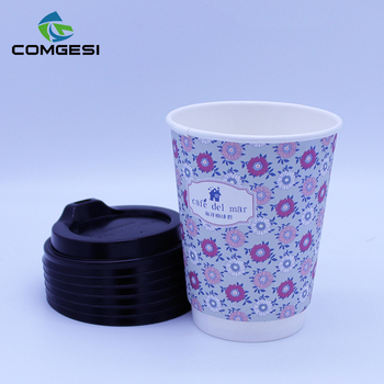 coated cardboard double pe cute style different size paper ice cream cup with lid for supermarket and dessert shop