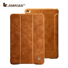 Jisoncase Smart ultra slim flip stand cover high quality genuine leather for ipad mini 4 case