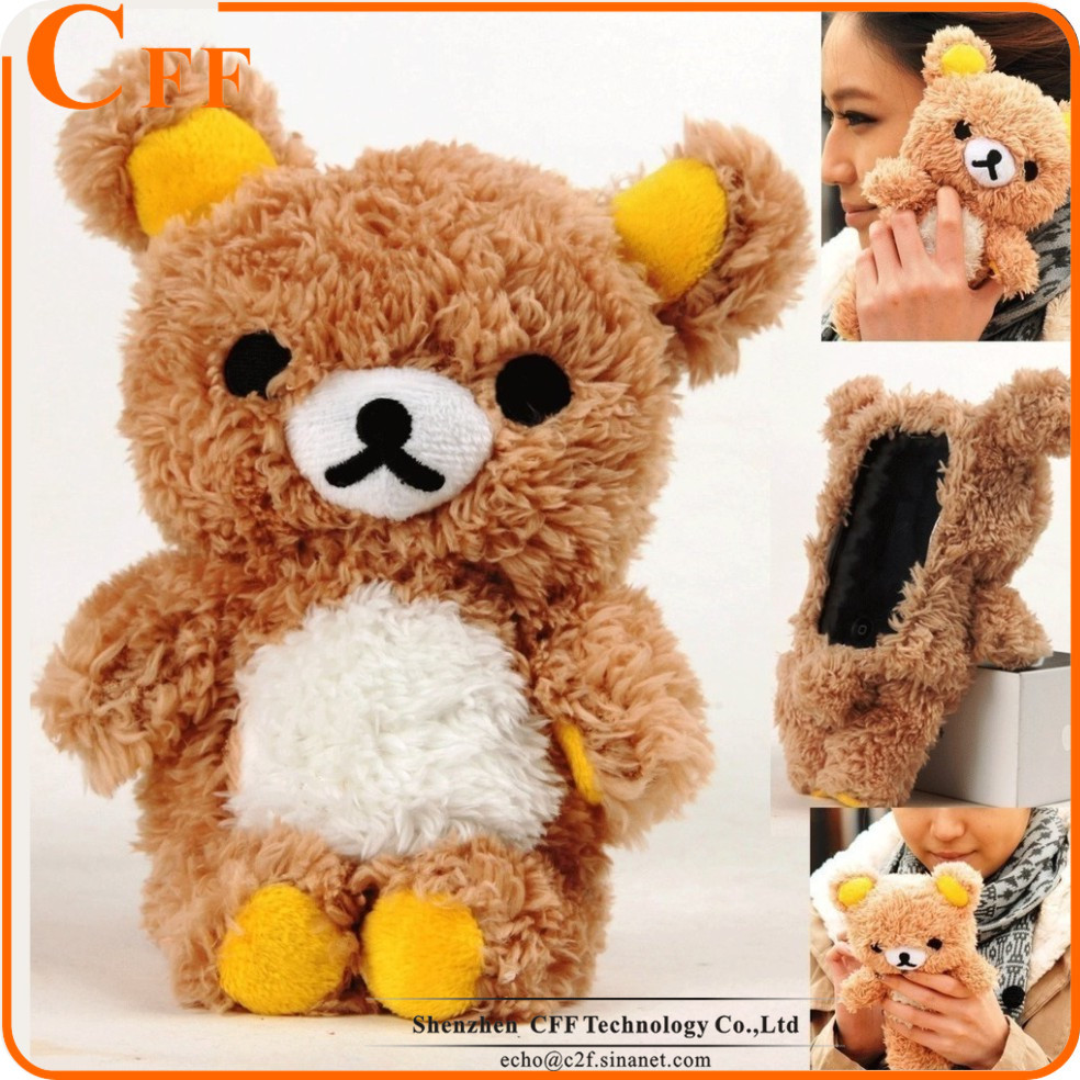 "New Winter Cute Bear Doll Phone Case Cover For Iphone 6 6s 4.7"" 3D Toy Plush Cover Coque Fundas"