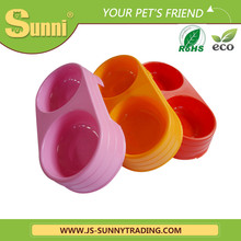 Colourful healthy double plastic automatic feeder for cats