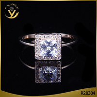 China guangdong high quality square cz gemstone engagement ring