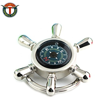 Wholesale Promotion Cute Enamel Personalized Blank Metal 3D Compass Car Logo Custom Keychain