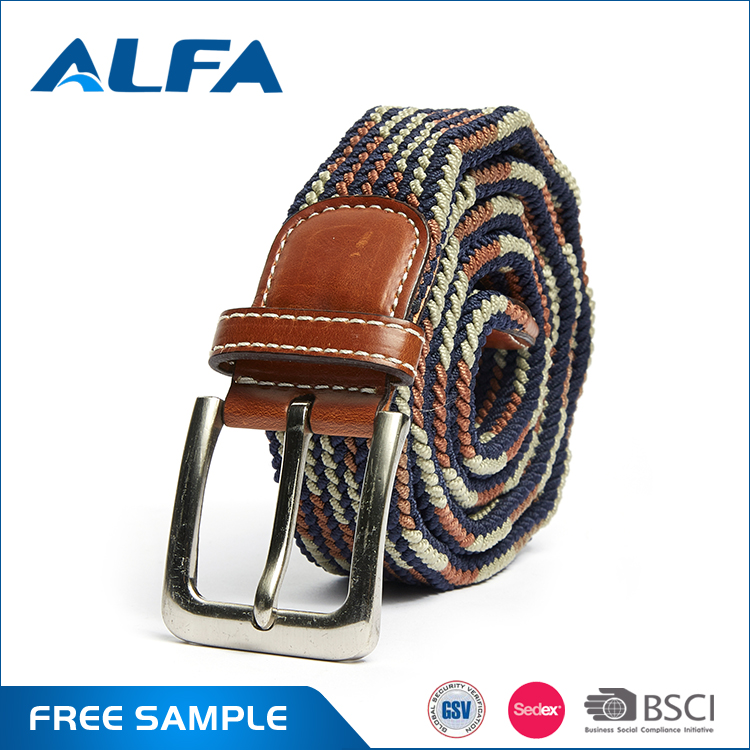 Alfa New Products 2016 Custom Colorful Casual Woven Fabric Braided Elastic Stretch Belt For Men