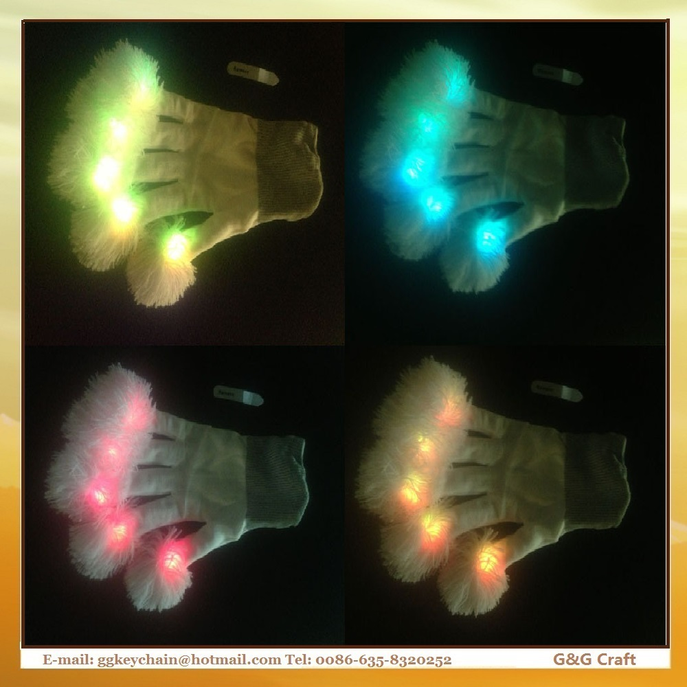 LN 008 Flashing Led Light Show Cotton Fluffy Gloves Party for Sale