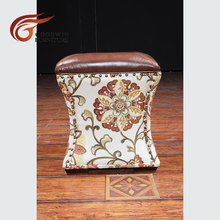Wooden stool and leather stool with fabric WA672