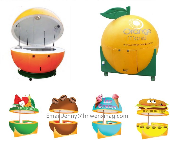 hot selling ice cream watermelon peniapple orange shape vending  food kiosk
