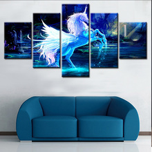 the running white horse 5 panel printed painting for decoration home or hotel