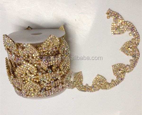 wholesale high quality best price handmade crystal ab rhinestone chain by yard