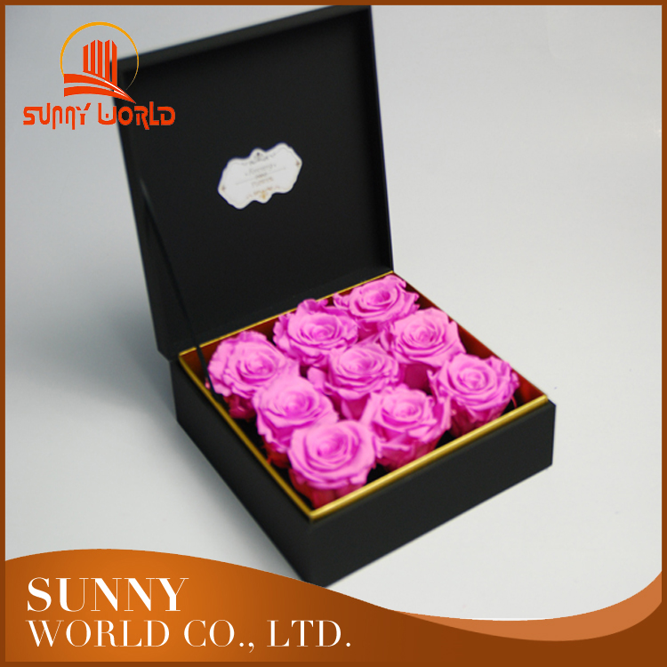Black folding preserved real flower rose box manufacturer