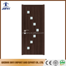 Composite MDF PVC Laminate enter mdf wood door interior glass door for bedroom