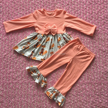 Peach colorful Fox girls ruffles pants baby dresses wholesale children clothes