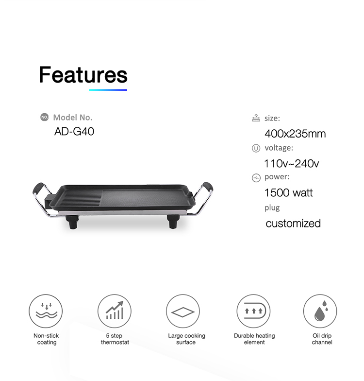 Household supplier electric BBQ grill pan electric teppanyaki grill Top Quality