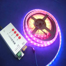 ws2812 rgb addressable led strips;60leds/m;4m/roll;DC5V input;White PCB;waterproof silicon tube IP67
