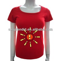 Fashion embossed deep neck girl t-shirt