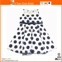 2016 children baby summer new model girl dresses with all over dot printed