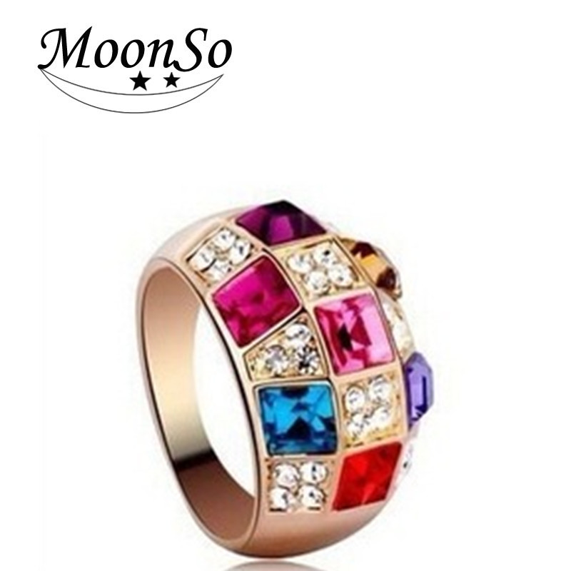 Cheap wholesale jewelry , women big colorful crystal rings for christmas gifts///