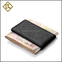 Fashion Printed Logo Custom Wholesale Magnet leather Money Clip