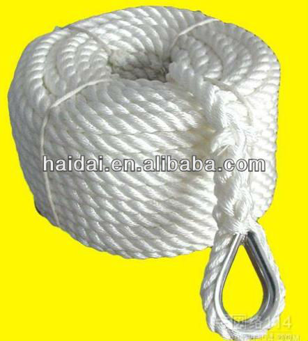 PP multifilament 3 strand twisted rope with eye splice