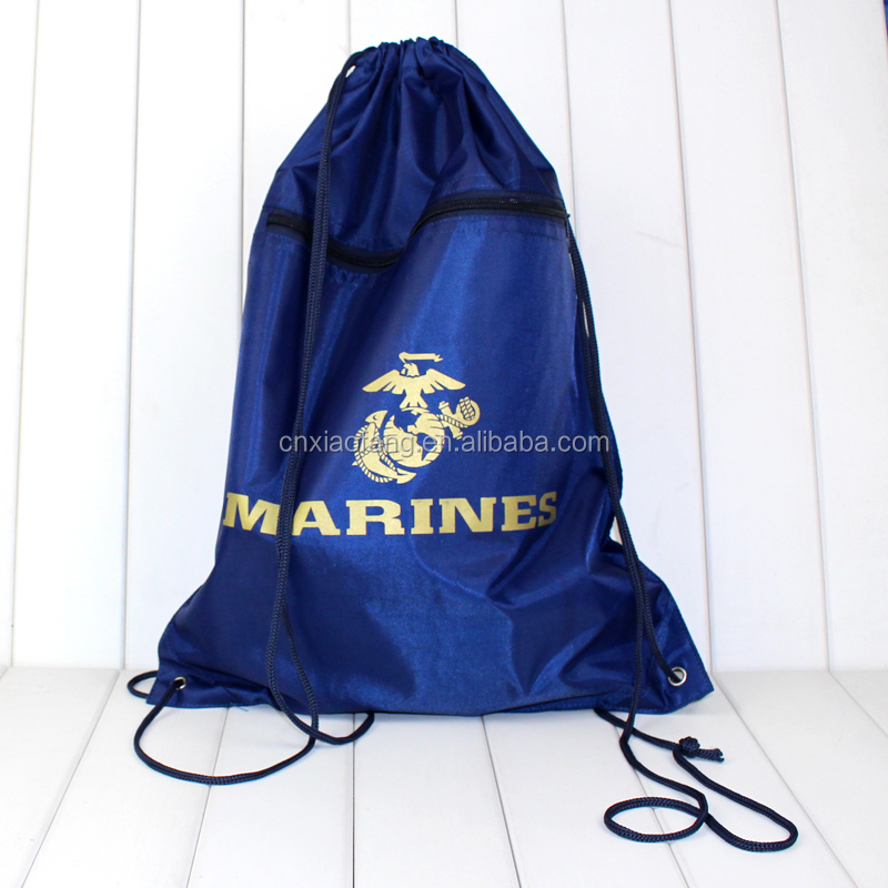 Silk printed gold color 300D polyester cheap drawstring shoe bag for athlete