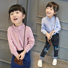 Autumn Neck Design Striped Shirt Kids Blouse Top For Children Clothing Manufacturers China