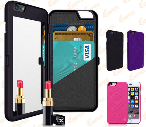 fancy design portable women make up mirror wallet hard PC mobile phone case for iPhone 6/7/plus