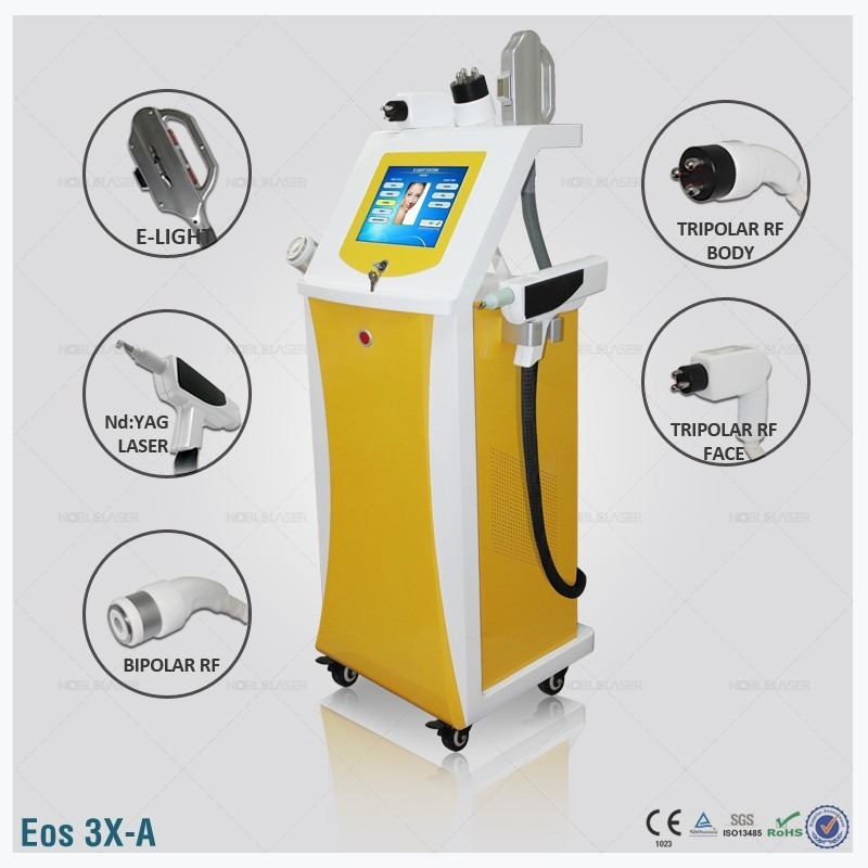 (Eos-3X-A) Q-Switched Laser + Elight IPL RF NdYag Laser Multifunction Beauty Machine CE permanent painless hair removal/tattoo