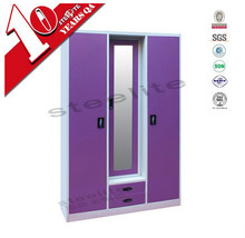 double color wardrobe design furniture bedroom/steel frame mirrored door almirah price
