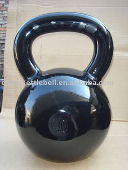 polished surface cast iron kettlebell