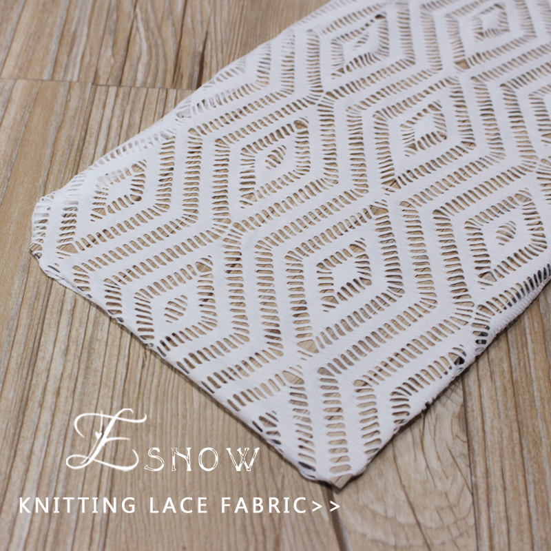 2016 China Wholesaler High Quality Spandex Hollow-out Knitting Lace Fabric for Clothing